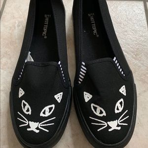 New Black Cat Slip on Shoes size 9